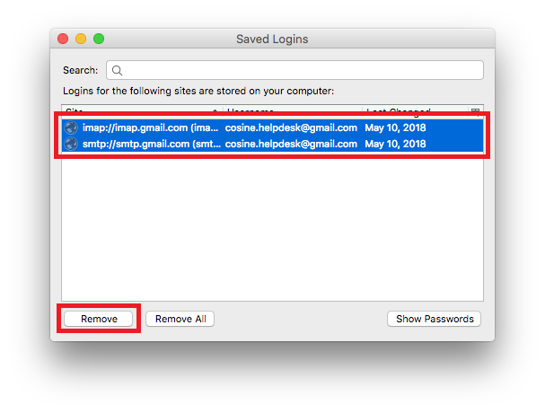 Delete your IMAP account's passwords