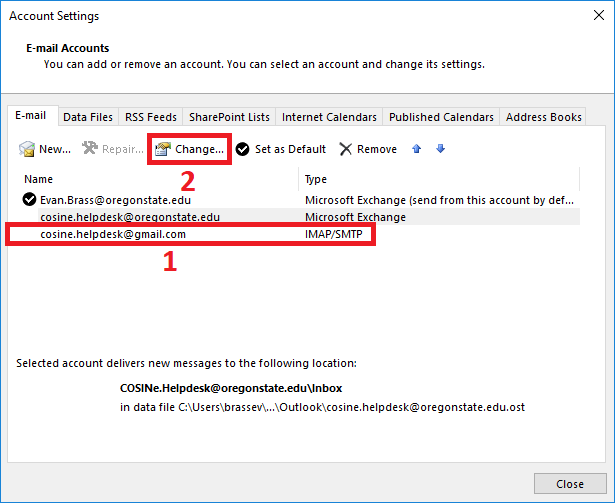 Change your IMAP Account
