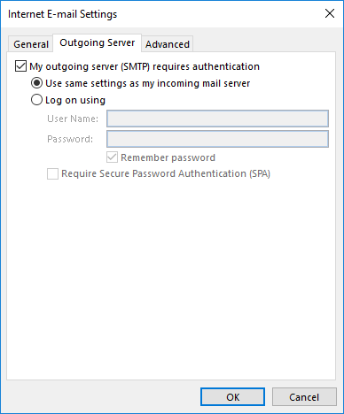 Use same settings as incoming or update your outgoing password
