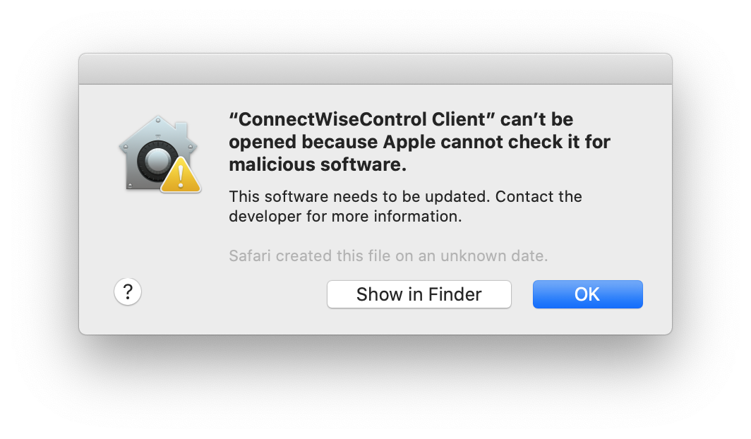 macOS telling the user that Apple cannot check to see if the software is malicious or not
