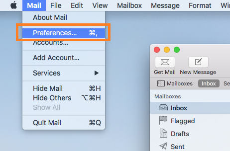 After opening mail. click mail-> preferances in the top bar