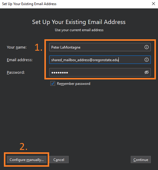 Entering Name, Email Address, and Password, then clicking Configure Manually
